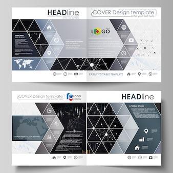 正方形デザインの2つ折りパンフレット、チラシ、レポートのビジネステンプレート。