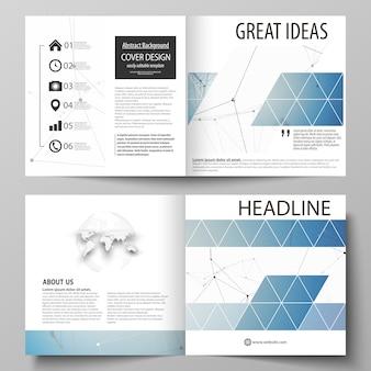 正方形の2つ折りパンフレット、雑誌、チラシのビジネステンプレート