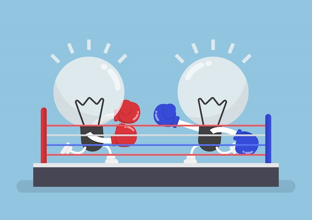 ボクシングリングで戦うボクシンググローブを身に着けている2つの電球
