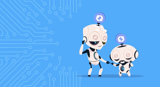 回路の背景上の更新システムプログラミングソフトウェアを眠っている2つのかわいいロボット