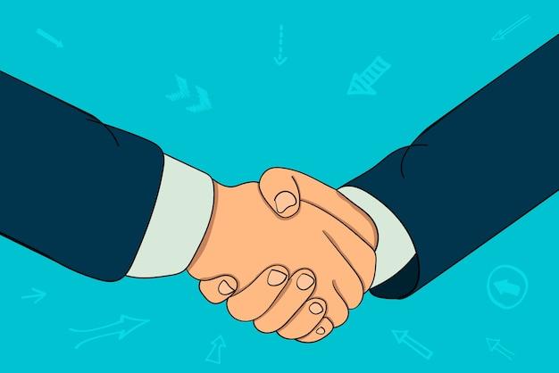 2人のビジネスマンのハンドシェイク。契約する、