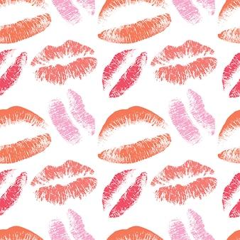 ピンクの唇キスバレンタインデー2月の背景のためのシームレスなパターン