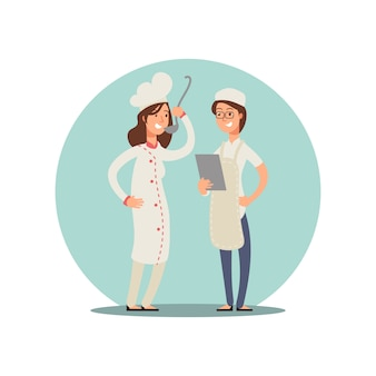 食べ物を味見する2人の笑顔のシェフ。プロの料理人漫画キャラクターデザイン