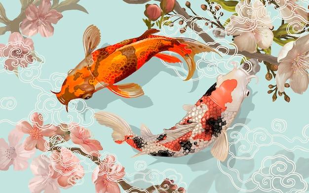 2つの日本の鯉の泳ぎ