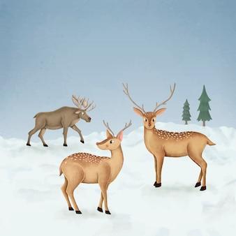 手描きの2匹の鹿