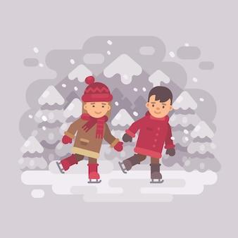 2人の小さな子供が山の湖でスケートする