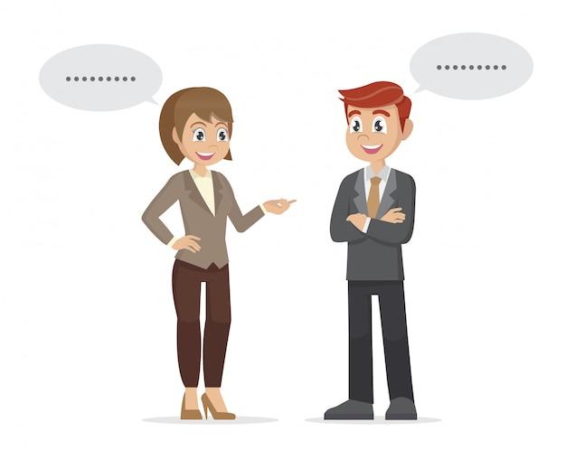 2人のビジネスマンと女性が立って、話し合って、交渉について話し合います。