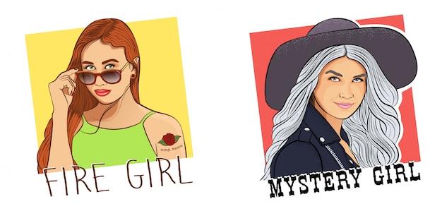 神秘的な女の子の2つの肖像画