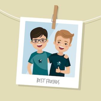 親友の写真。笑顔の2人の幸せな男の子。ベクトル図
