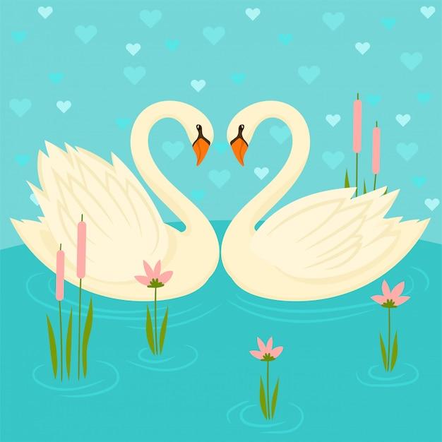 湖、愛のシンボルの2つの白鳥