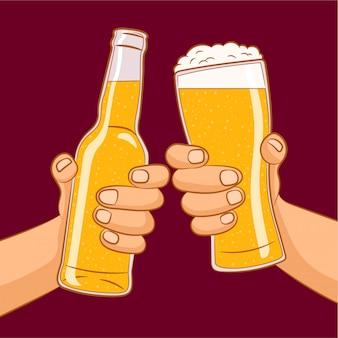 ビール祭り。ビール瓶とビールグラスを保持している2つの手