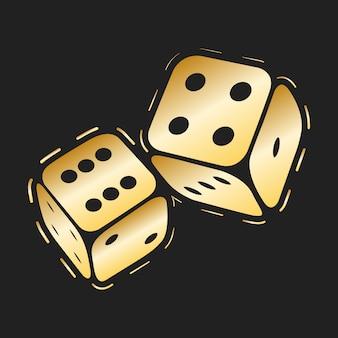 黄金のサイコロのアイコン。 2つの金のゲームサイコロ、カジノのシンボルの最小限のデザイン。ベクトルイラスト