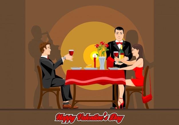 2人の恋人は、レストランでロマンチックな夜を過ごします。