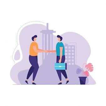 Иллюстрация рукопожатия 2 бизнесменов