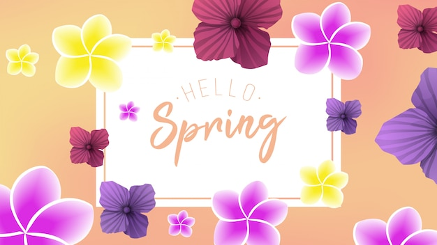 Весенний фон с 2 цветами