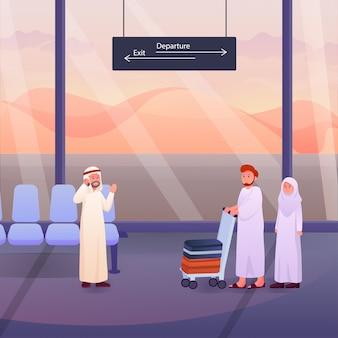 2人のイスラム教徒が空港で巡礼者またはウムラの巡礼者の後