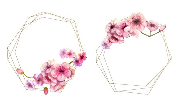 Вишневый цвет, ветка сакуры с розовыми цветами на золотой раме и изолированные на белом. образ весны. 2 кадра с акварельными цветами. иллюстрации.