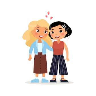 2人の若い女性またはレズビアンのカップルがハグします。国際的な友達面白い漫画のキャラクター。