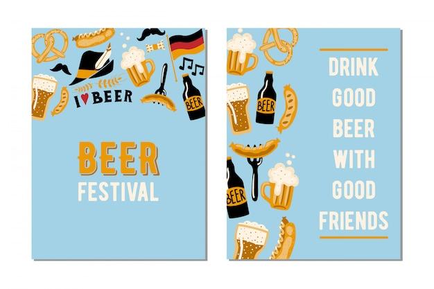 ビール祭りのための2枚のカードのセット。