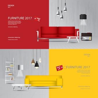 2 баннер мебель продажа дизайн шаблон векторные иллюстрации