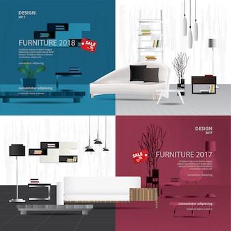 2バナー家具販売デザインテンプレートベクトルイラスト