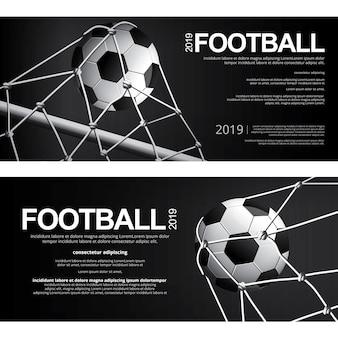 2つのバナーサッカーサッカーポスターベクトルイラスト