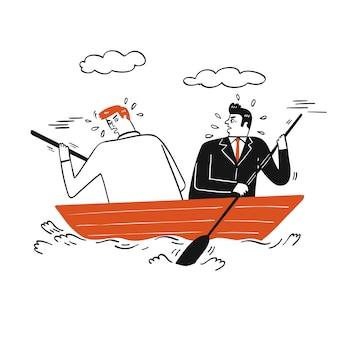 手のコレクションには、小さな木製ボートで漕ぐ2つのビジネスの男性。スケッチ落書きスタイルのベクトルイラスト。