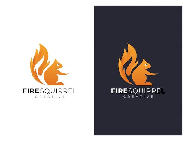 2つのバージョンのユニークなリスと火のロゴ