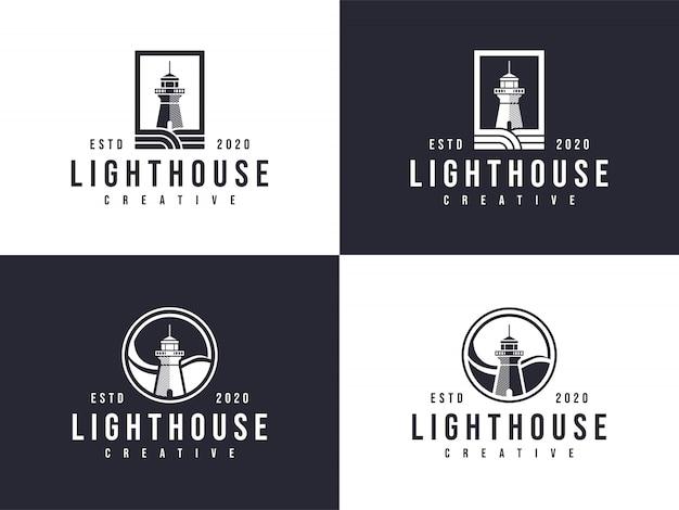 2つのバージョンの灯台ロゴコレクションエンブレム