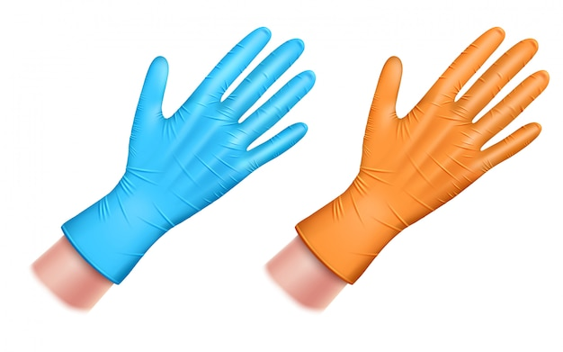 青とオレンジの2つのラテックスゴム手袋。ゴム製の手袋をはめてください。