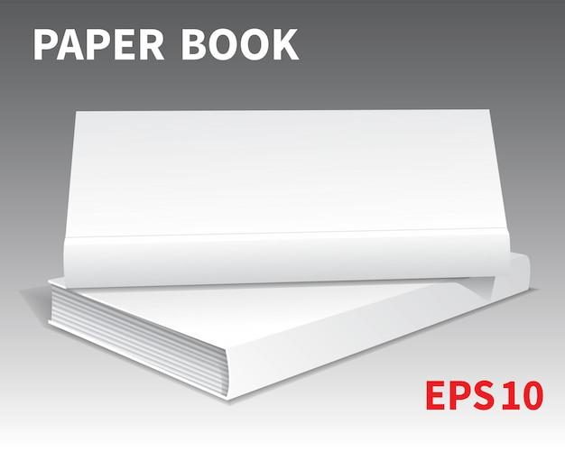 2冊の白い本のモックがテーブルの上に横たわっていました。