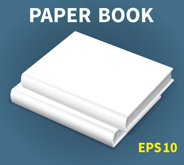 テーブルの上に横たわる2つの白い本のモックアップ