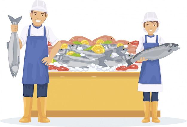 2人の魚が市場で新鮮な魚を売る