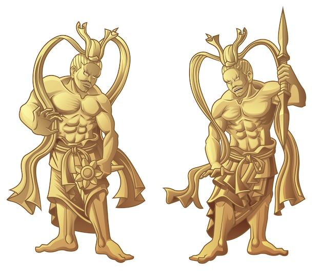 2つの彫刻木造日本の神々。