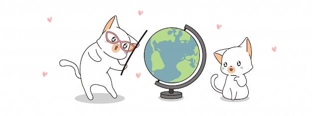 2匹の猫は世界を愛する