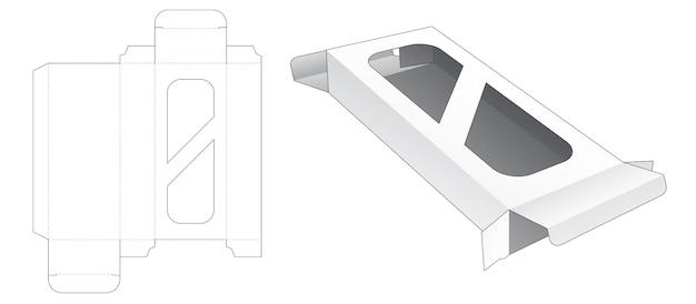 Подарочная коробка с шаблоном высечки 2 окна