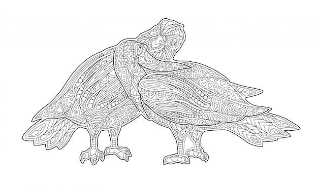 2匹のキス鳩と大人のぬりえ本ページ