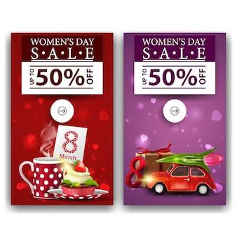 女性の日のための2つの割引バナー