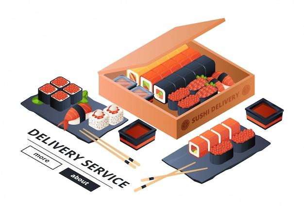 寿司配達サービスバナーテンプレート。等尺性寿司、2つの図のアジアディナー