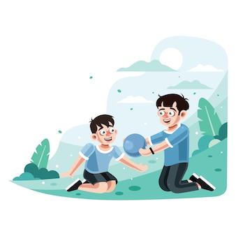 2人の兄弟が公園でボールをプレー