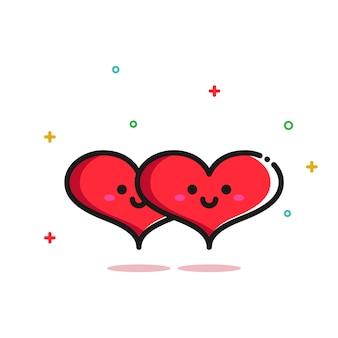 かわいいロマンチックな2つのラブハートイラストカップル