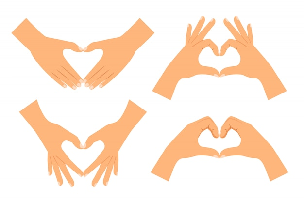 分離されたハート形を作る2つの手