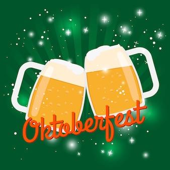 オクトーバーフェストビールポスター。ビールの泡グラス2杯とオクトーバーフェスト