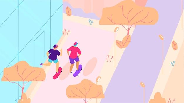 都市通り漫画の上を歩く2つのスケートボーダー