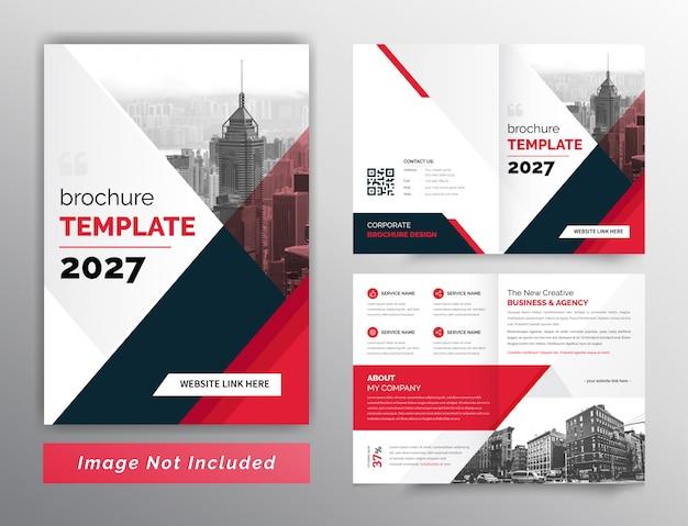赤と黒の抽象的な2つ折りビジネスパンフレットテンプレート