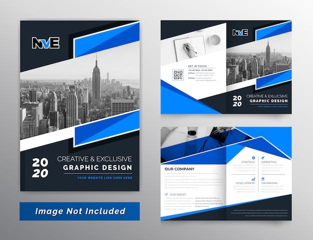 抽象的な暗いと青2つ折りビジネスパンフレット設計