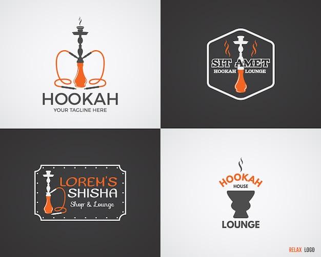 水ギセルのセットは、2色のカラーバリエーションでロゴをリラックスさせます。ビンテージシーシャのロゴ。ラウンジカフェの紋章。アラビアのバーや家、店の記章。流行のパレット。