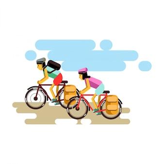 フラットなデザインの2つのサイクリングの男の子と女の子のベクトル図。