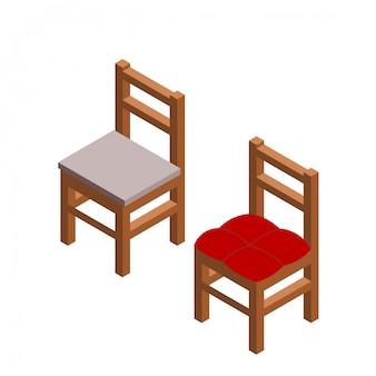 アイソメ図スタイルの2つの椅子