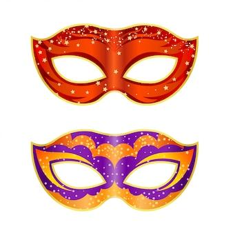 白い背景の上の2つの明るい派手なマスク。